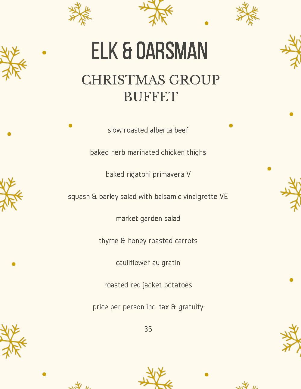 Elk & Oarsman Christmas Group Buffet Menu