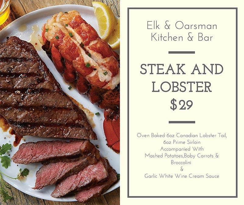 Elk & Oarsman Steak & Lobster