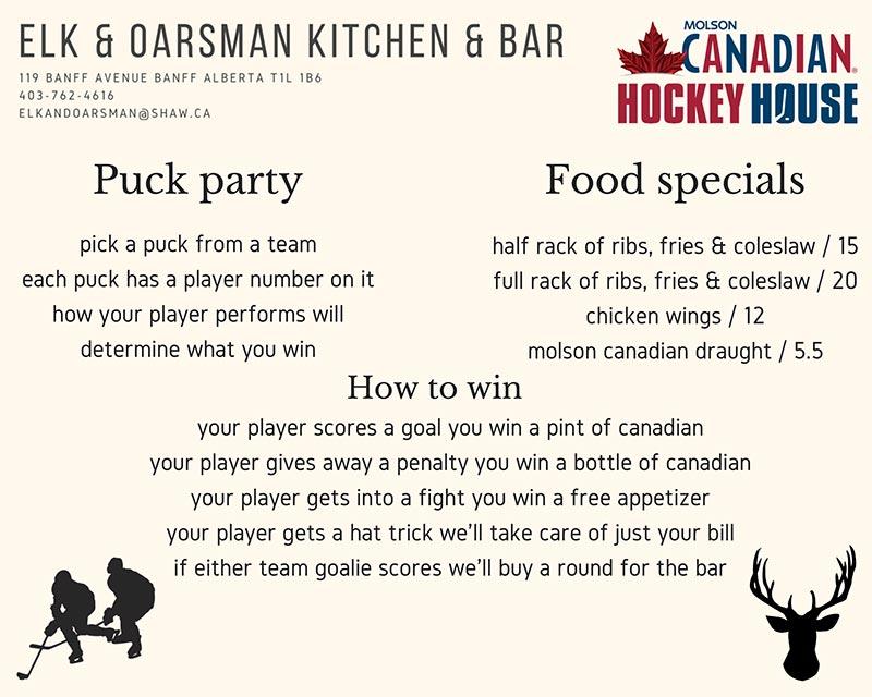 Elk & Oarsman Thursday Night Puck Party